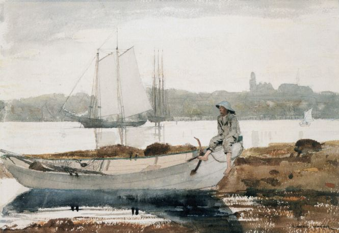 Winslow_Homer_-_Gloucester_Harbor_and_Dory_(1880)