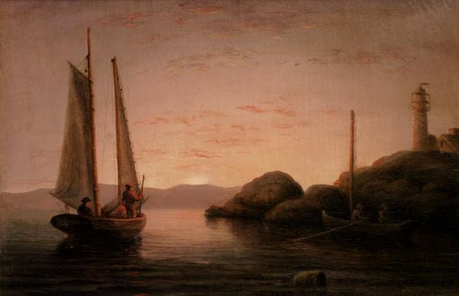 Mary Blood Mellen (1819-1886) Sunset Calm off Ten Pound Island Light, Gloucester, c. 1850s