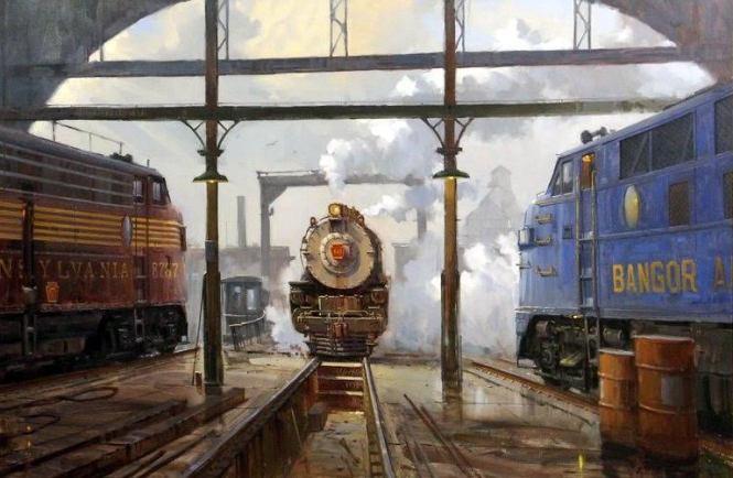Showdown at Roundhouse Corral, (Boston Railyard) © 2000 ~ David Tutwiler (b. 1952)