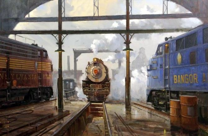 Showdown at Roundhouse Corral, (Boston Railyard) © 2000 ~ David Tutwiler (b. 1952)