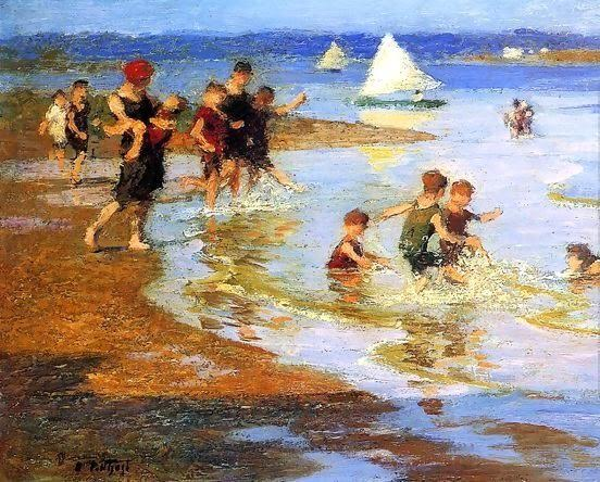 Children on the Beach. Edward Henry Potthast (1857-1927)