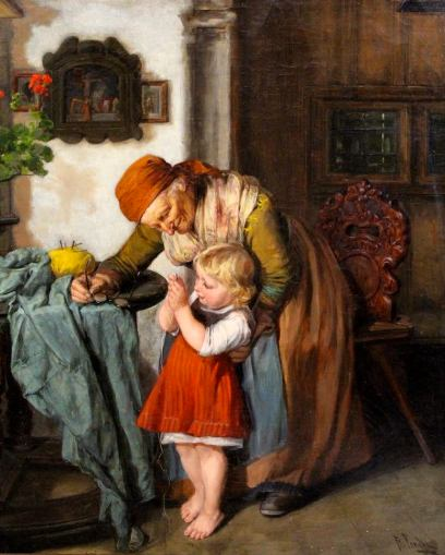 Grandmother and Child Sewing. Friedrich Pondel (b. 1836)