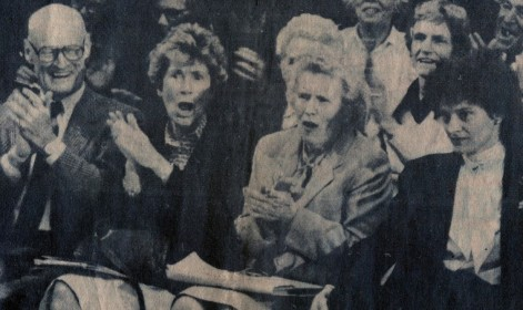 Audience reacts to City Council ruling against the DeMoulas shopping center permit L to r: former Gloucester Mayor Bob French, GCGC President Louise Loud, Betty Smith, GCGC Treasurer Adah Marker, attorney Suzanne Howard Gloucester Daily Times photo, May 14, 1986